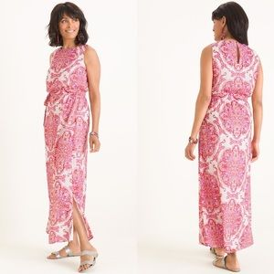Chicos Printed Maxi Dress Size 1.5 10 Pink Paisley
